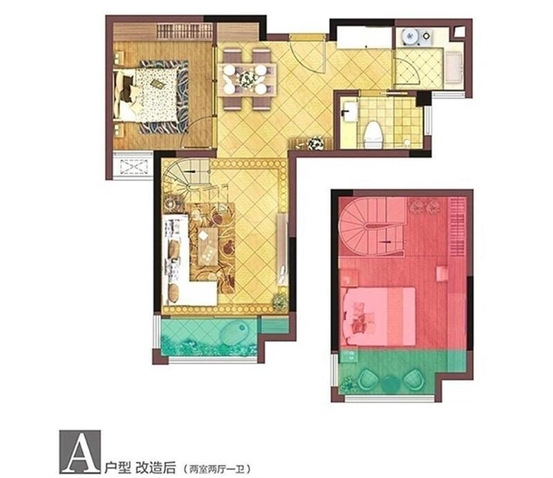 浦口区高新艾菲国际B区2室2厅户型图
