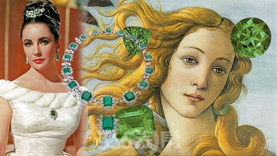 维纳斯女神及伊丽莎白泰勒与祖母绿珠宝(资料图片)