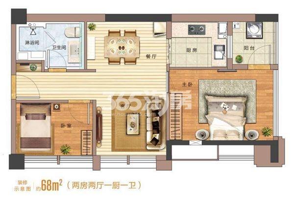 太平洋城中城【天一公馆】68平两室两厅一厨一卫户型图