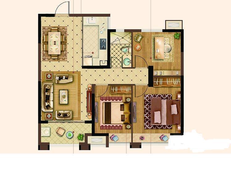 碧桂园世纪城邦3室2厅1卫产权房精装