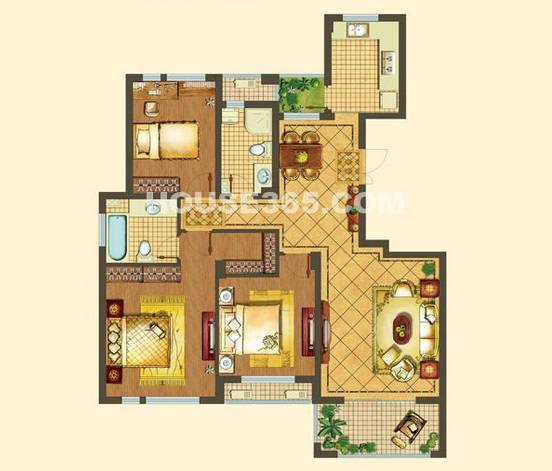 户型:3室2厅 面积:133�O