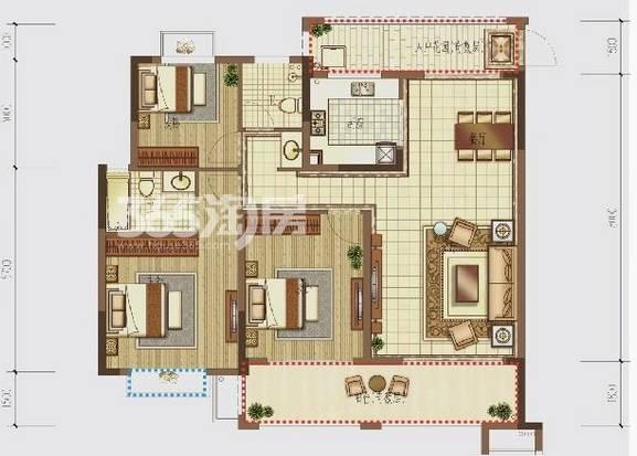 户型:3室2厅 面积:128�O