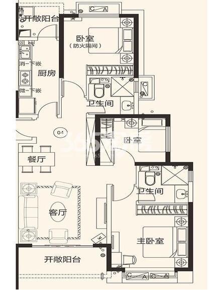 恒大翡翠龙庭10#楼04户3室2厅2卫1厨121.73㎡