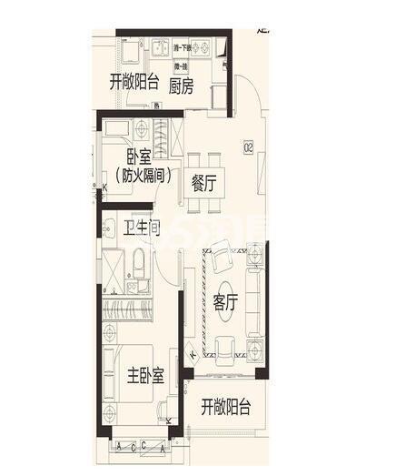 恒大翡翠龙庭8#楼1单元02户2室2厅1卫1厨78.83㎡