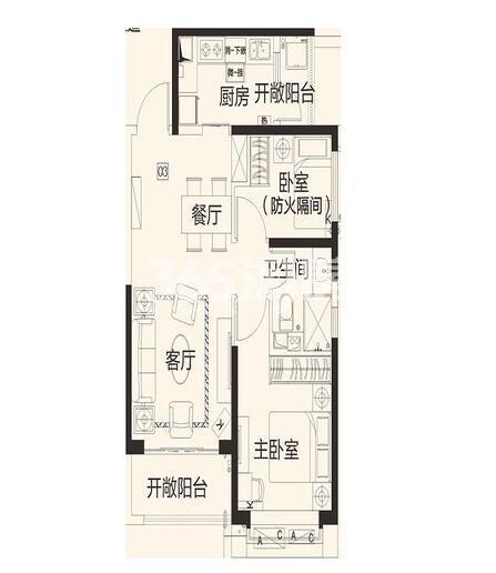 恒大翡翠龙庭8#楼1单元03户2室2厅1卫1厨78.83㎡