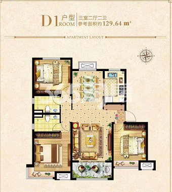 荣盛城四期D1户型129㎡三室