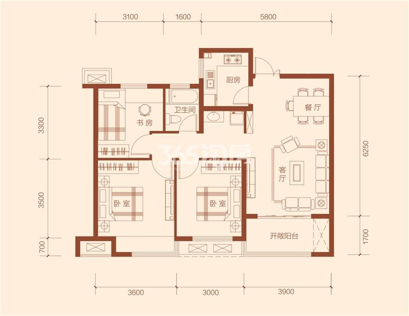 G5#楼户型105.52㎡三室两厅一卫