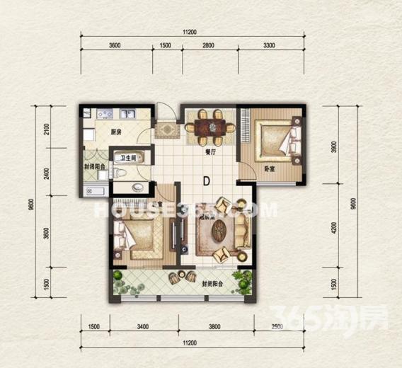 阳光帝景2室2厅1卫94平方产权房精装