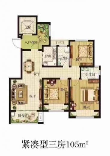 浩创梧桐花语3室2厅1卫105平米毛坯产权房2017年建