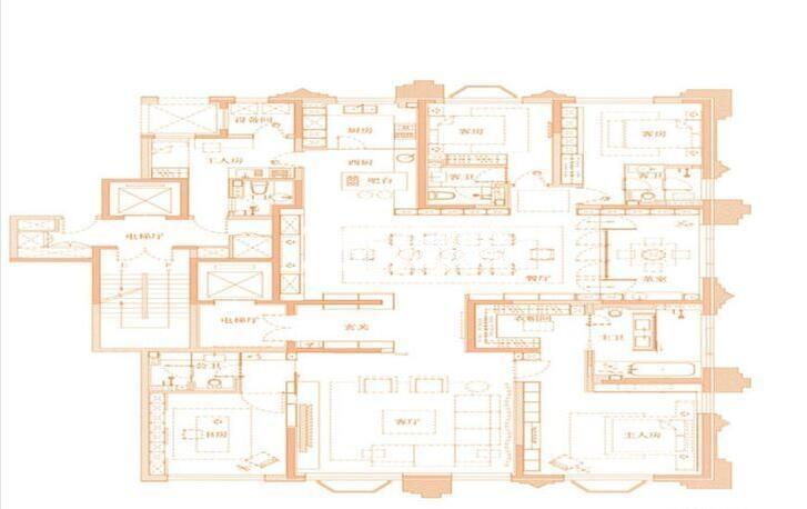 紫楹台A2户型6室2厅5卫1厨332.00㎡户型图