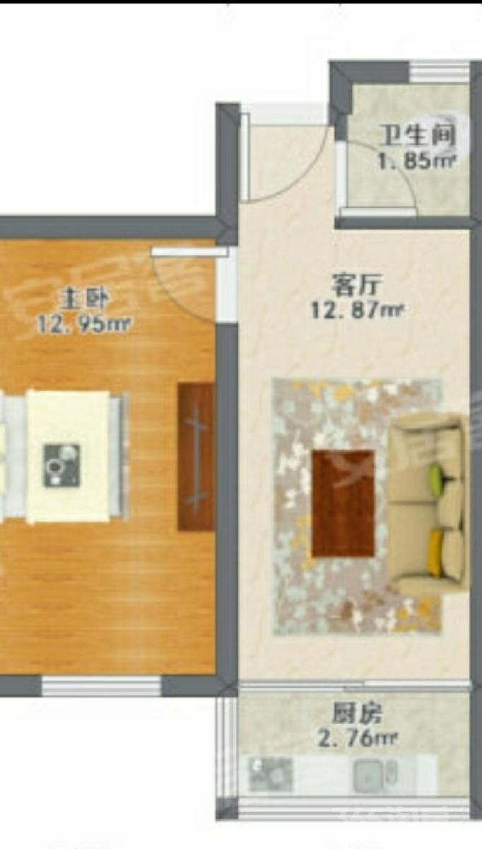 进步里1室1厅1卫42平米整租中装