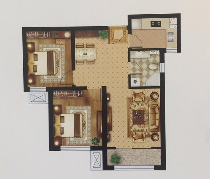 B户型88㎡ 两室两厅一卫