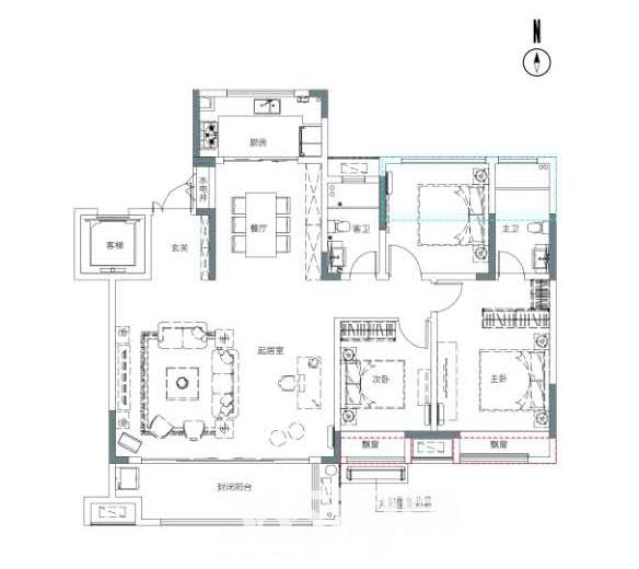 保利香颂卢浮152平户型图(中间户)