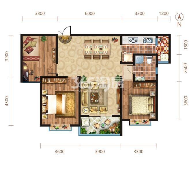 陕建翠园锦绣10号楼三室两厅一卫128.15平户型图