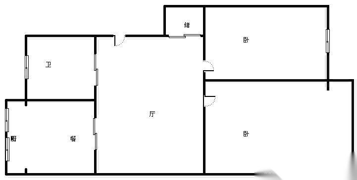 鼓楼区小市和燕园2室1厅户型图