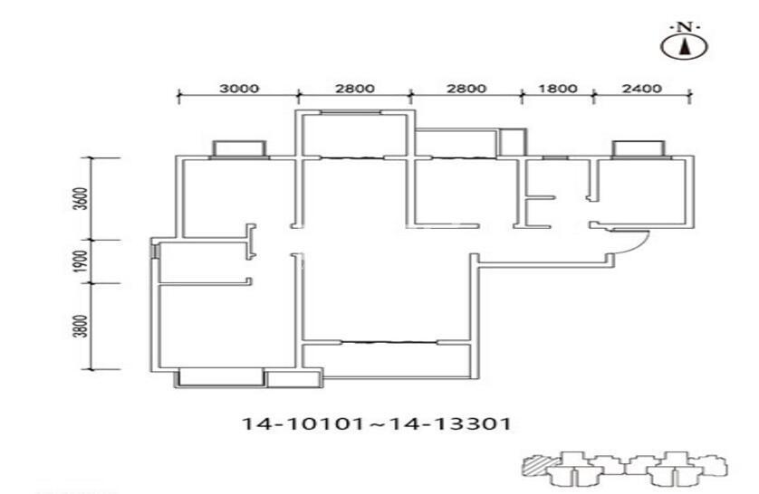 三迪枫丹10/14号楼4室2厅2卫1厨128.61㎡