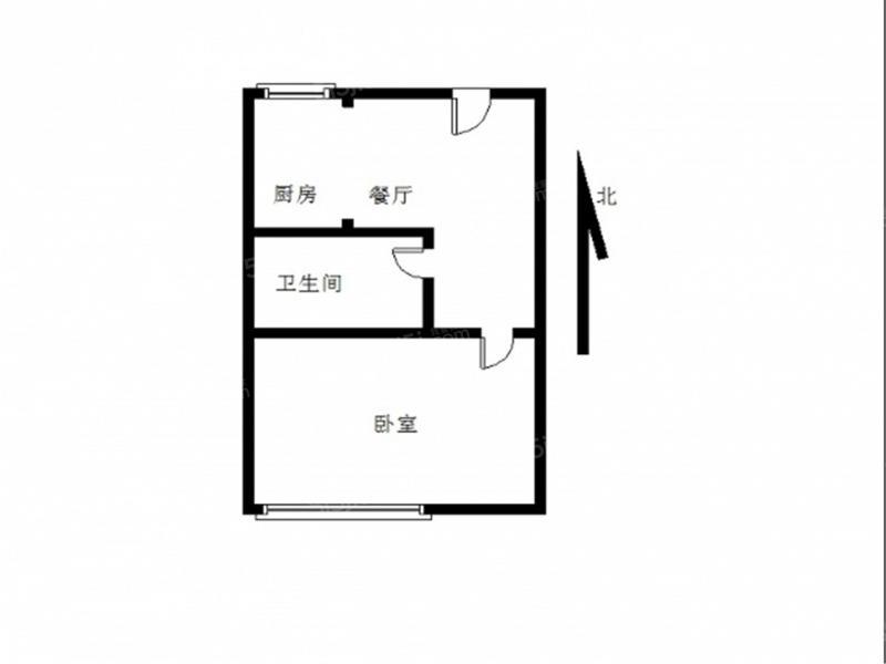 江宁区东山街道山水方舟1室1厅户型图