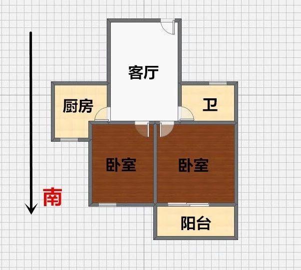 建邺区奥体清荷园北园2室1厅户型图