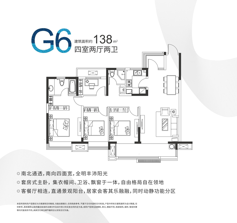 蚌埠淮上万达广场 G6 四室两厅两卫 建面约138㎡