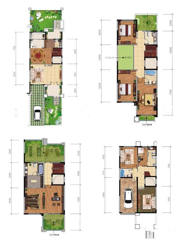 联排别墅H02户型6室3厅6卫1厨328㎡