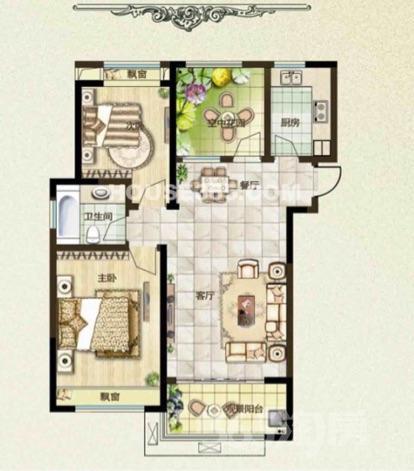 新北绿都万和城3室1厅1卫96�O