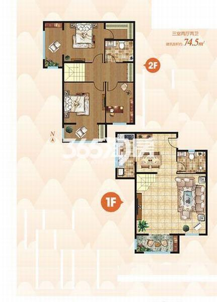 上上墅三室两厅两卫74.5㎡户型图