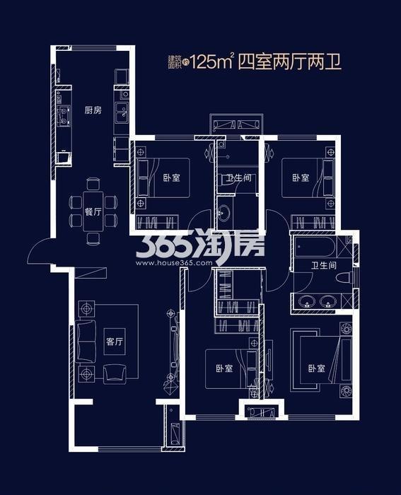 南飞鸿十年城罗曼尼四室两厅两卫一厨125㎡