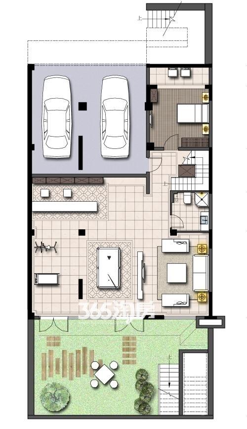 鹭山湖山居小院(双拼)负一层(面积:245平+180平地下室+两车位)