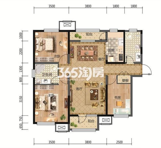 3室2厅1厨2卫 124.57平米