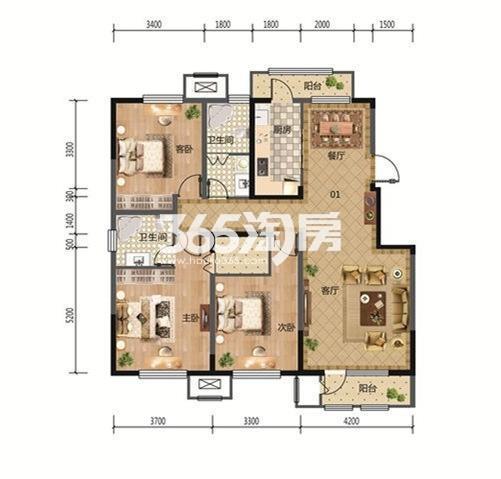 3室2厅1厨2卫 154.50平米