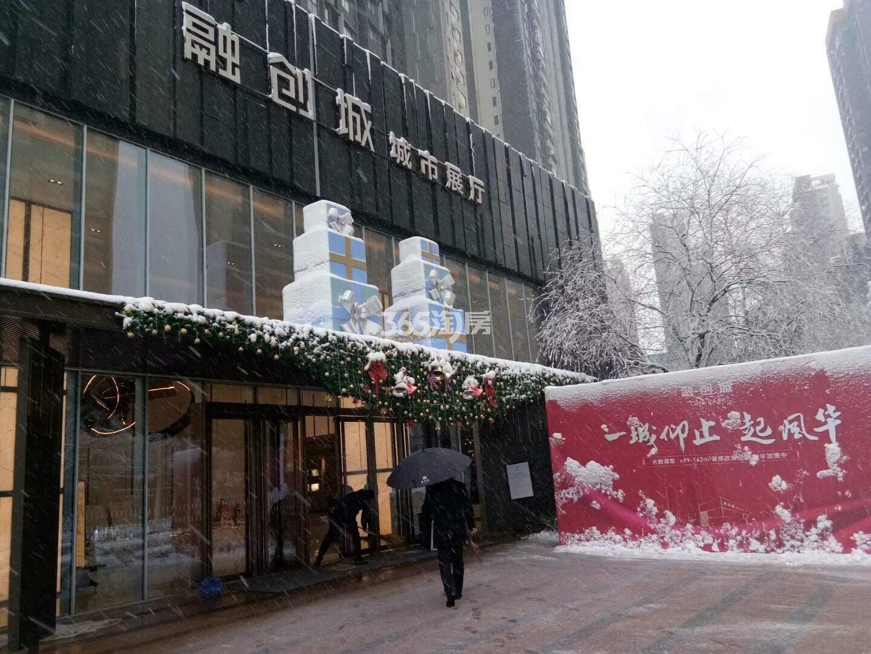 风雪中的融创城售楼部(2018.1.4)