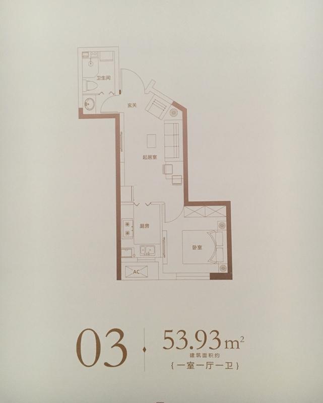 1室1厅1卫 53.93㎡