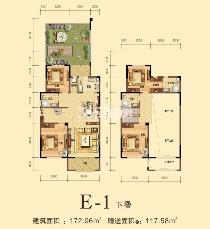 力高宝格丽天悦华府E-1下叠户型四室两厅一厨三卫172.96平