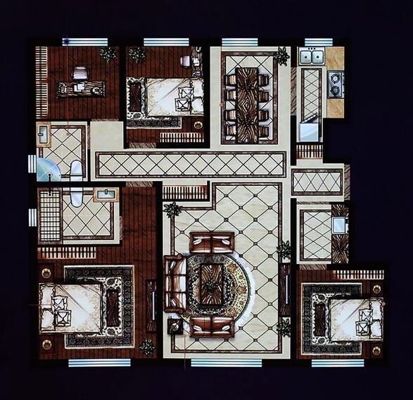 洋房A户型 4室2厅2卫 140平米