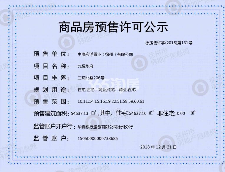 万科弘阳结庐22、58、59、60、61#预售证