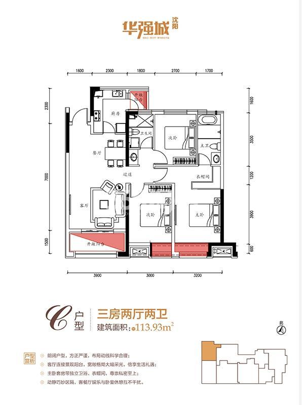 华强城C户型3室2厅2卫113.93㎡