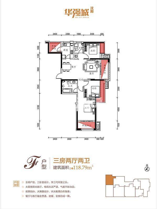 华强城F户型3室2厅2卫118.79㎡