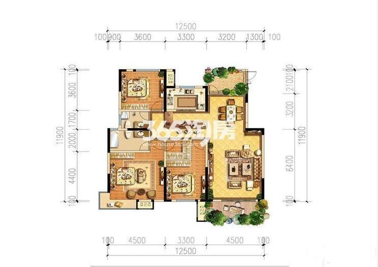 山水香堤溪墅二期1-7号楼D4户型3室2厅2卫1厨143.58㎡