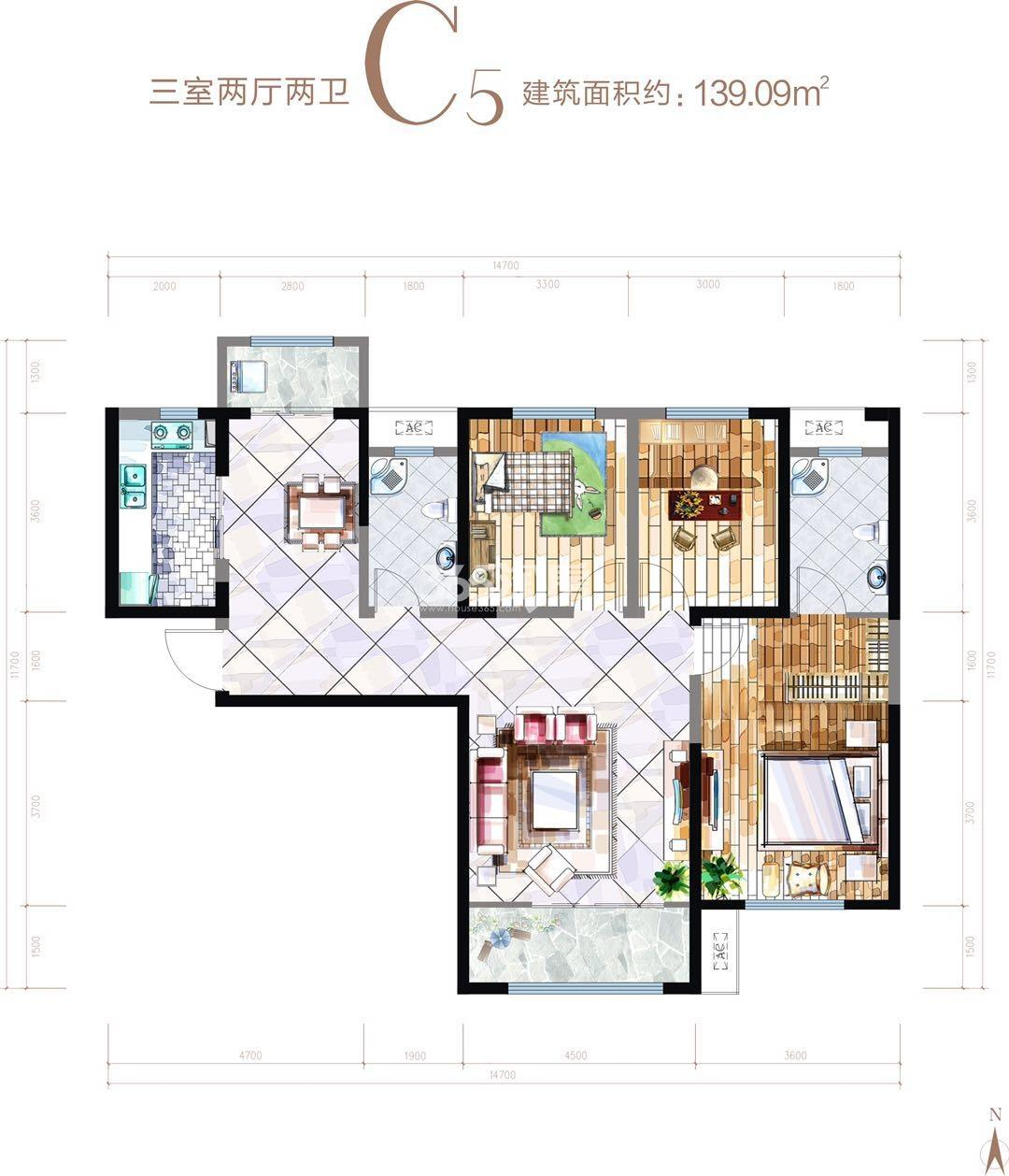 华安紫竹苑C5三室两厅一厨两卫139.09㎡