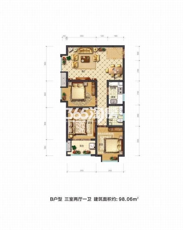 摩卡思想家B户型三室两厅一卫一厨98.09㎡