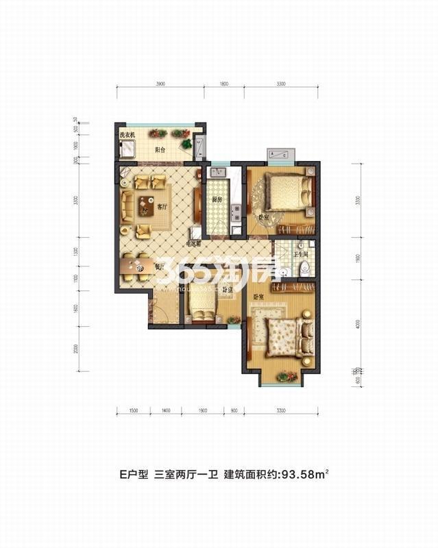 摩卡思想家E户型三室两厅一卫一厨93.58㎡