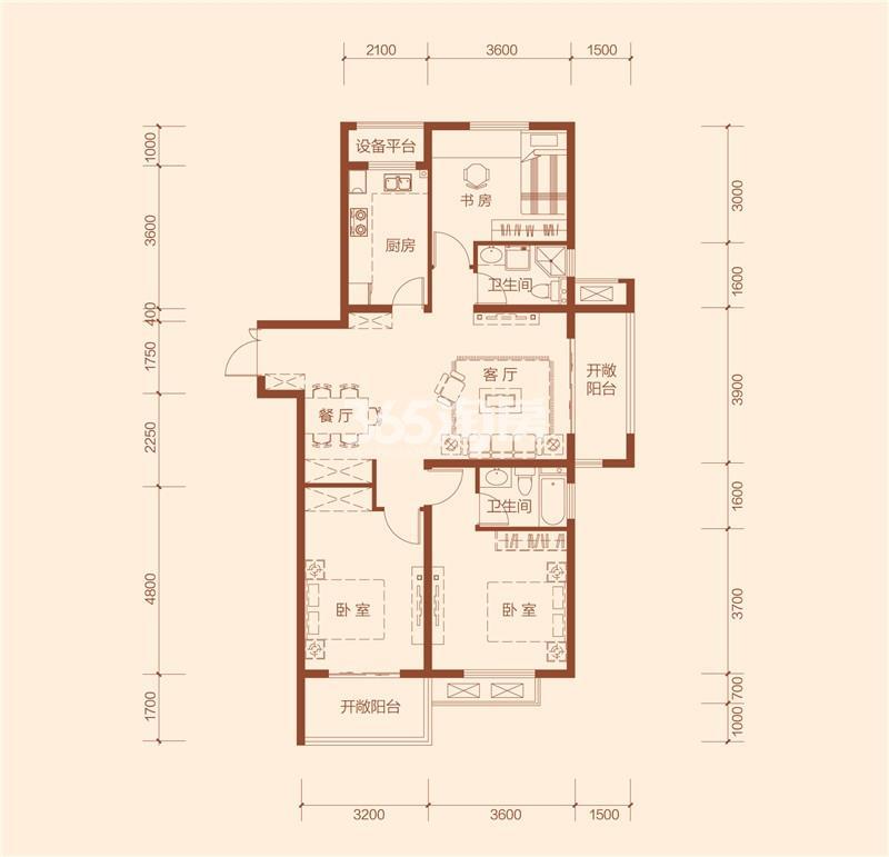 G3a户型三室两厅两卫建筑面积约123.99㎡