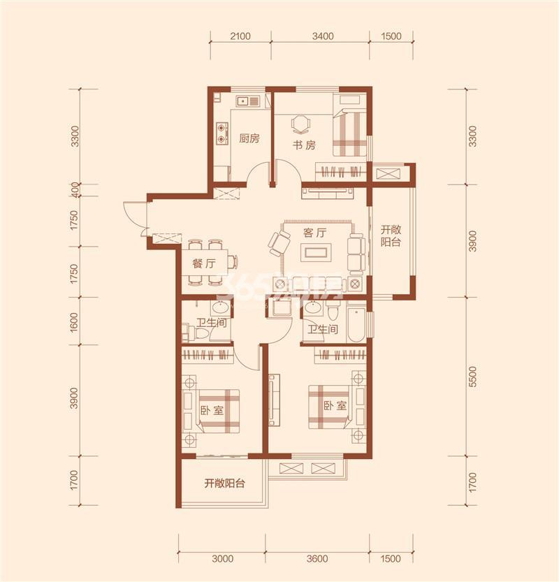 G1户型三室两厅一卫建筑面积约114.3㎡