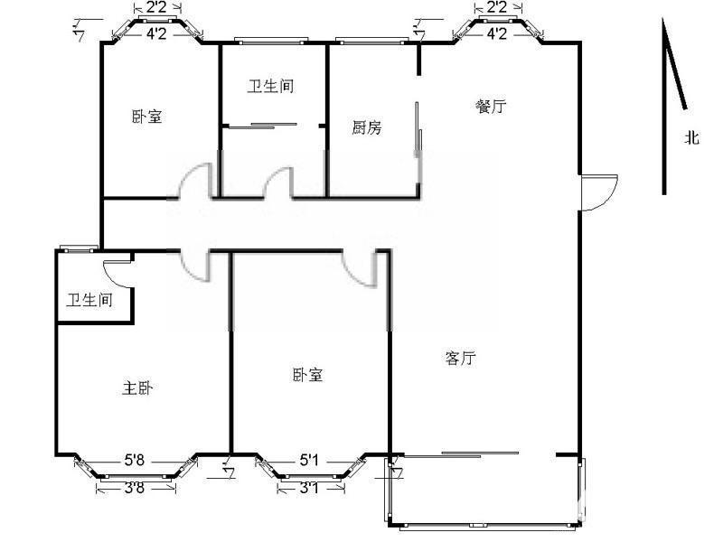 秦淮区升州路天安恒隆花园3室2厅户型图