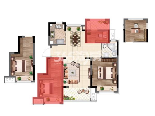 弘阳时光山湖106㎡三房两厅两卫户型