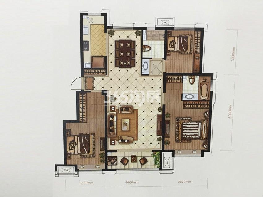 户型图 C2户型 125.00平米 三室