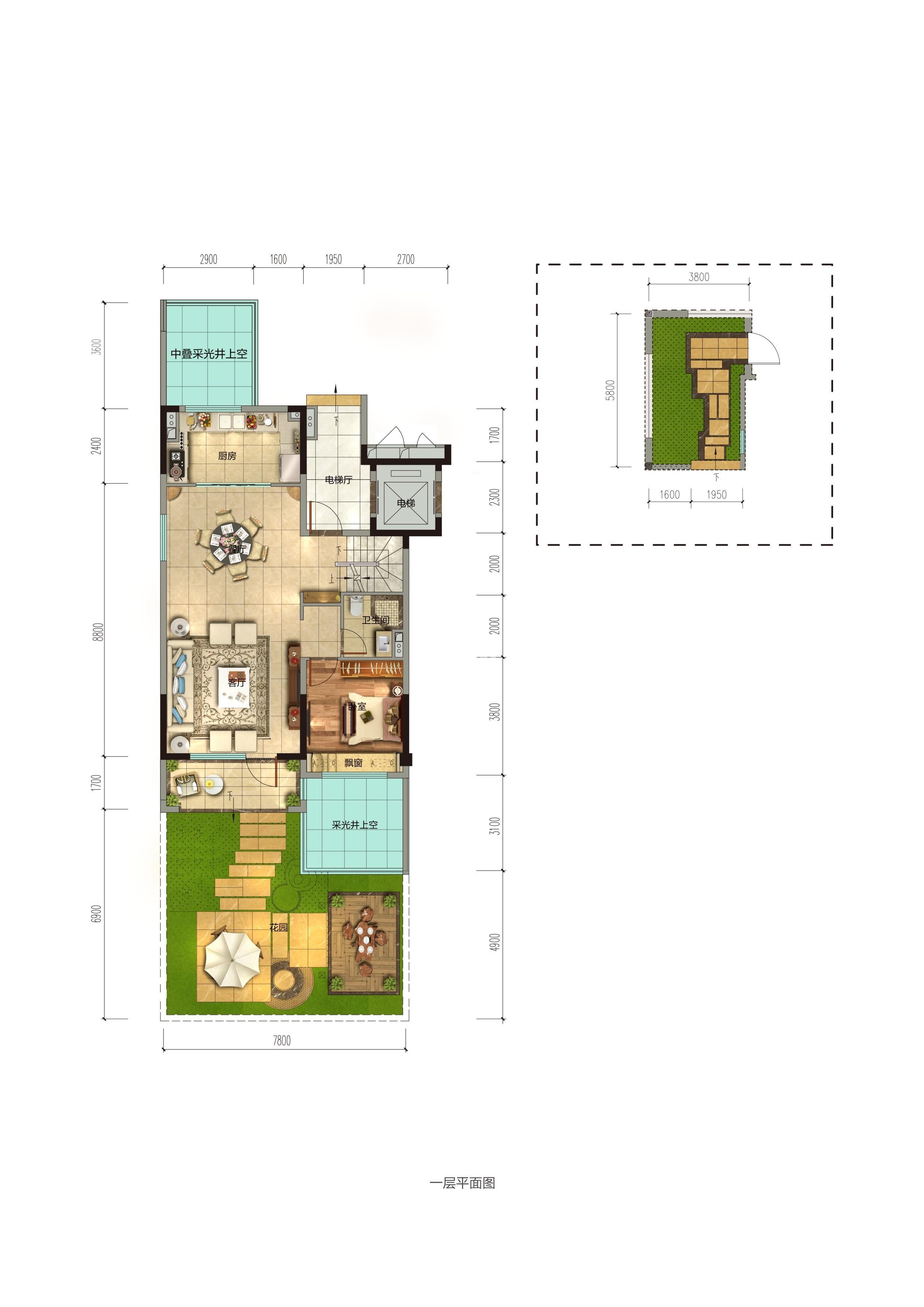 碧桂园香湖湾1号项目157-185㎡下叠(一楼)户型图