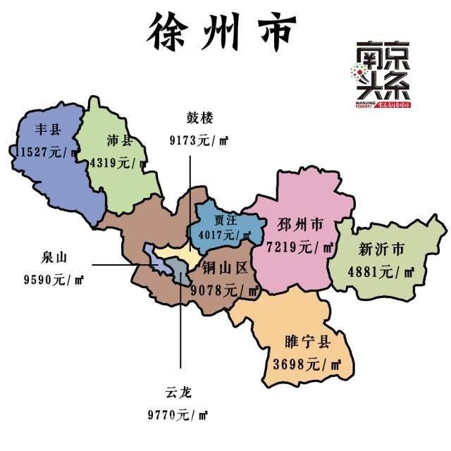78% ↑ 无锡9月各区房价地图 徐州9月二手房均价9564元/m?