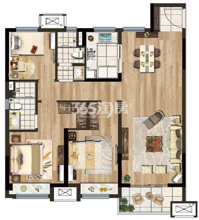 B户型建筑面积约115㎡三室两厅两卫