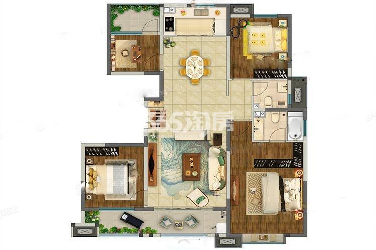 奥园枫丹名郡4室2厅145㎡户型图